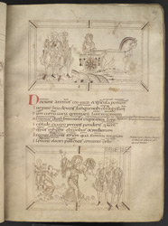 Drawings Of Indulgence In Her Chariot, Persuading Men To Lay Down Their Weapons, And Leaving A Feast, In Prudentius's 'Conflict Of The Soul'